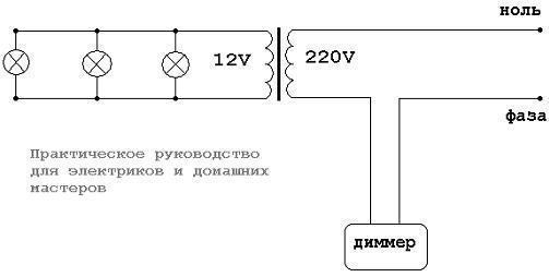Схема управления галогенными лампами 12 вольт, при помощи диммера будет работать только с понижающими...